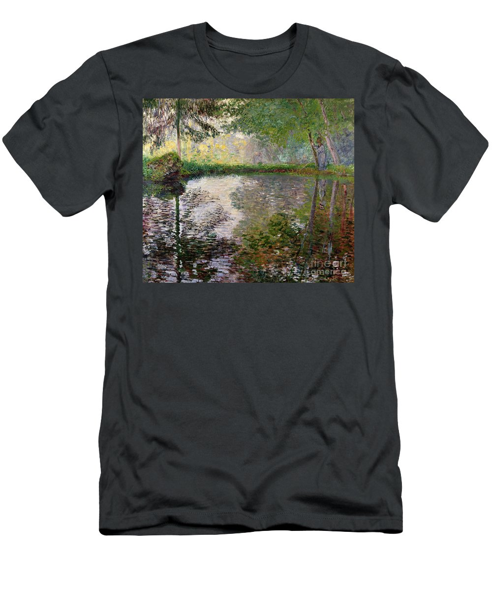 The Lake At Montgeron By Claude Monet (1840-1926) T-Shirt featuring the painting The Lake At Montgeron by Claude Monet