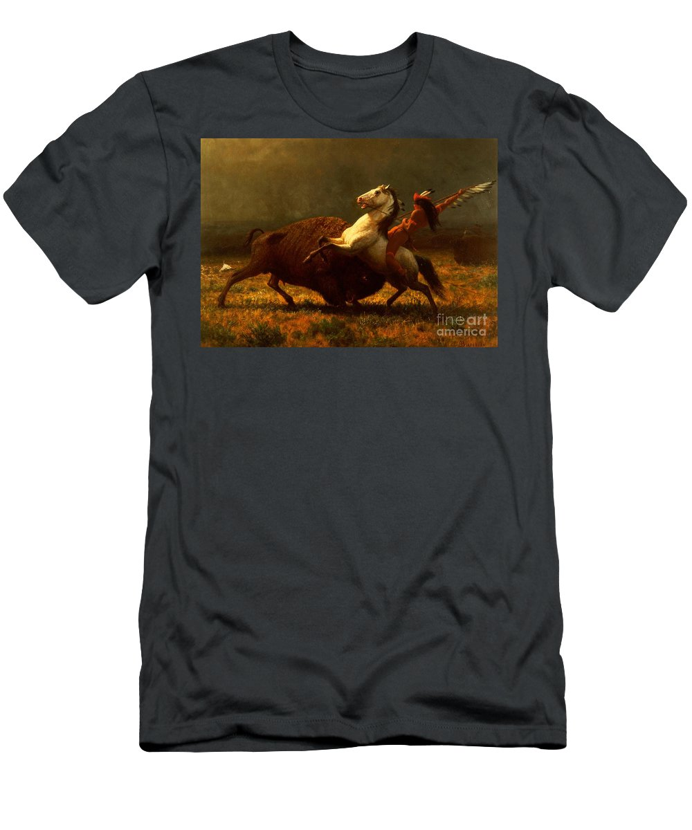 Albert Bierstadt Men's T-Shirt (Athletic Fit) featuring the painting The Last Of The Buffalo by Albert Bierstadt