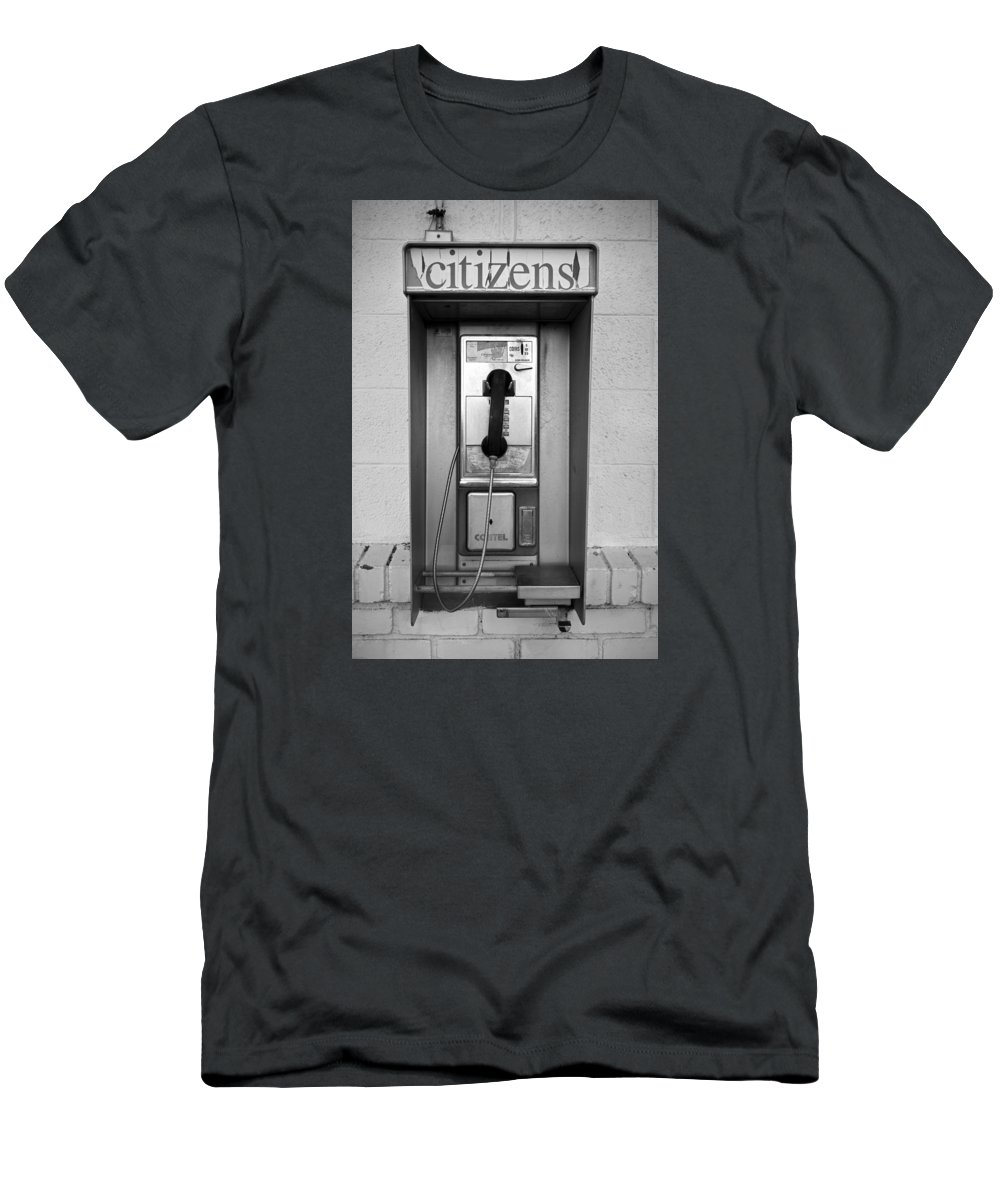 Pay Phone Men's T-Shirt (Athletic Fit) featuring the photograph The Last Pay Phone by Rick Pisio