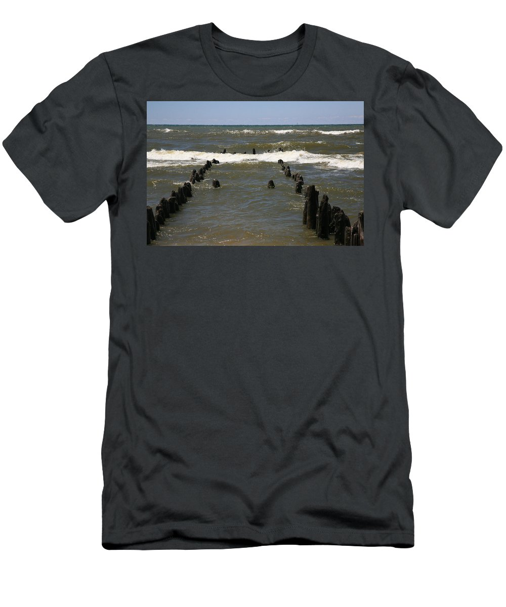 Sand Surf Men's T-Shirt (Athletic Fit) featuring the photograph The Last Wooden Pier by Robert Pearson