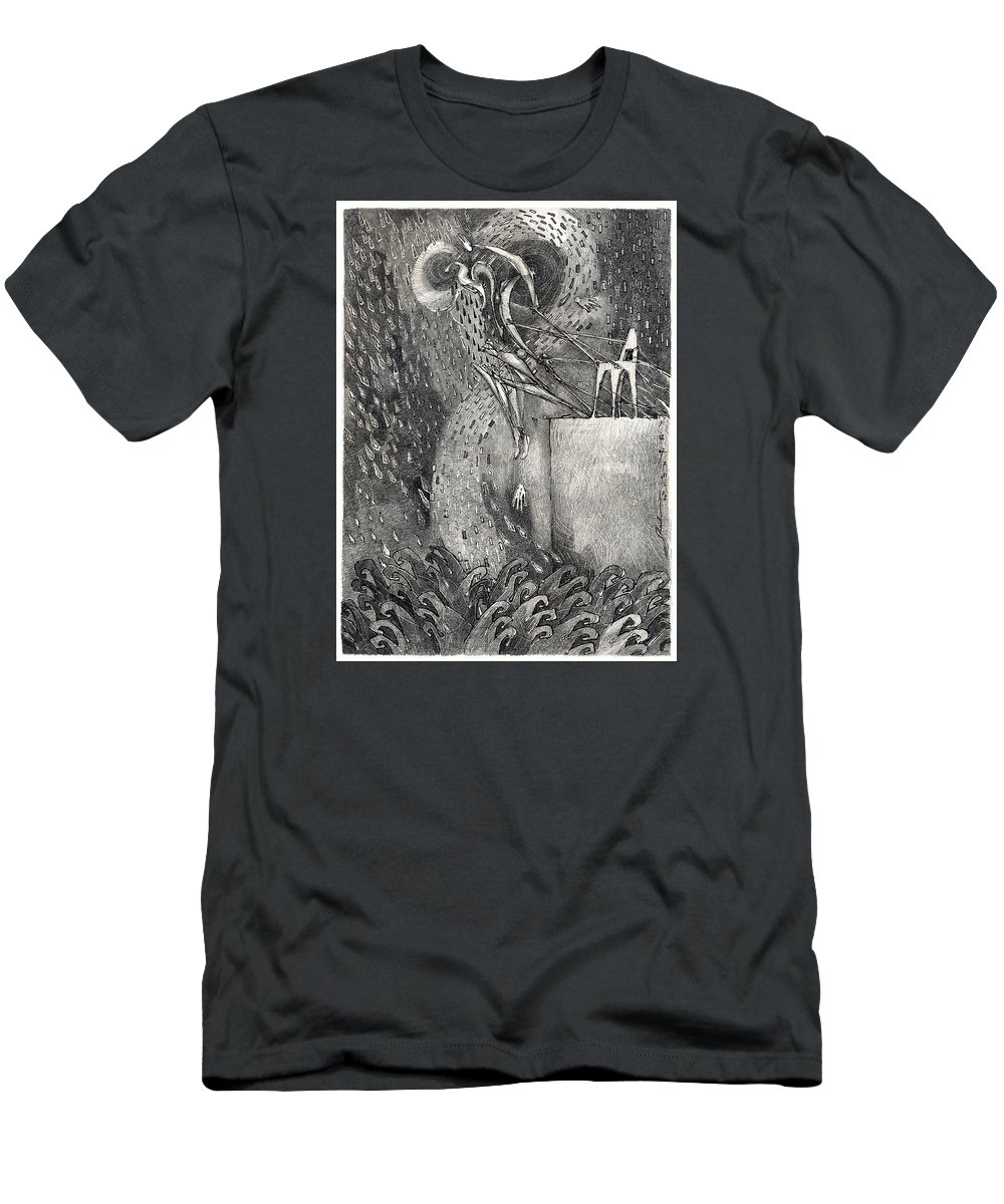 Leap Men's T-Shirt (Athletic Fit) featuring the drawing The Leap by Juel Grant