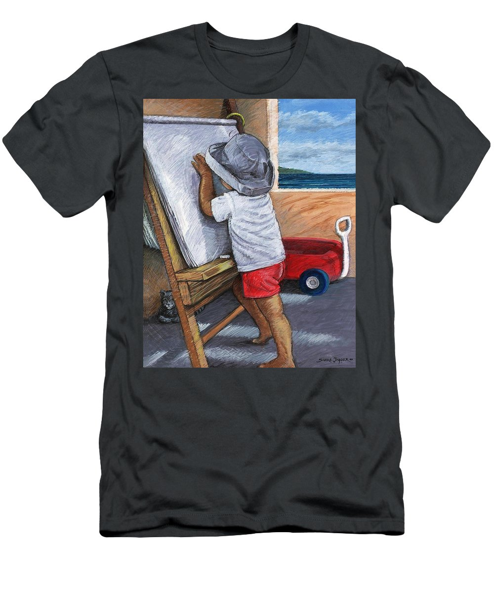 Young Artist Men's T-Shirt (Athletic Fit) featuring the painting The Little Artist by Snake Jagger