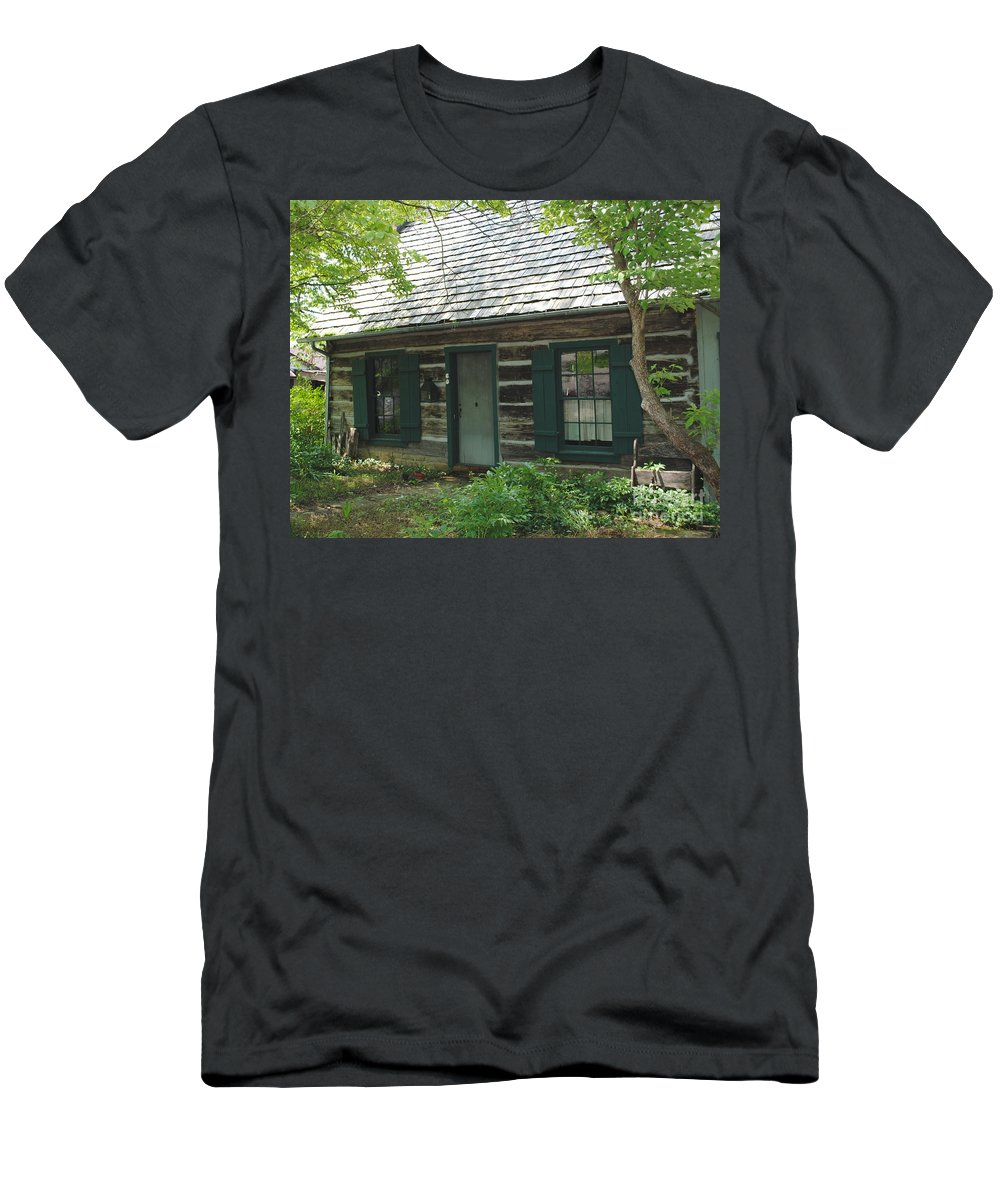 Log Cabin Men's T-Shirt (Athletic Fit) featuring the photograph The Log Cabin by Jost Houk