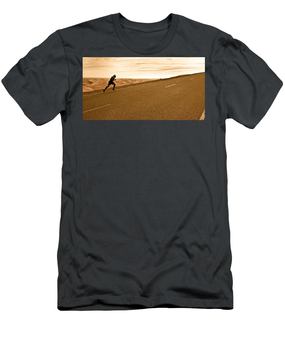 Run Men's T-Shirt (Athletic Fit) featuring the photograph The Long Road by Scott Sawyer