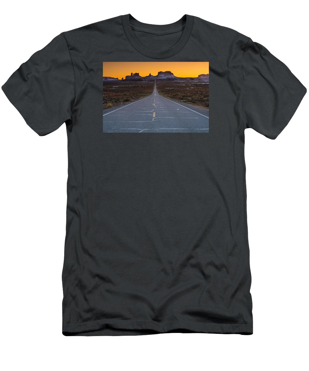 Utah Men's T-Shirt (Athletic Fit) featuring the photograph The Long Road To Monument Valley by Larry Marshall
