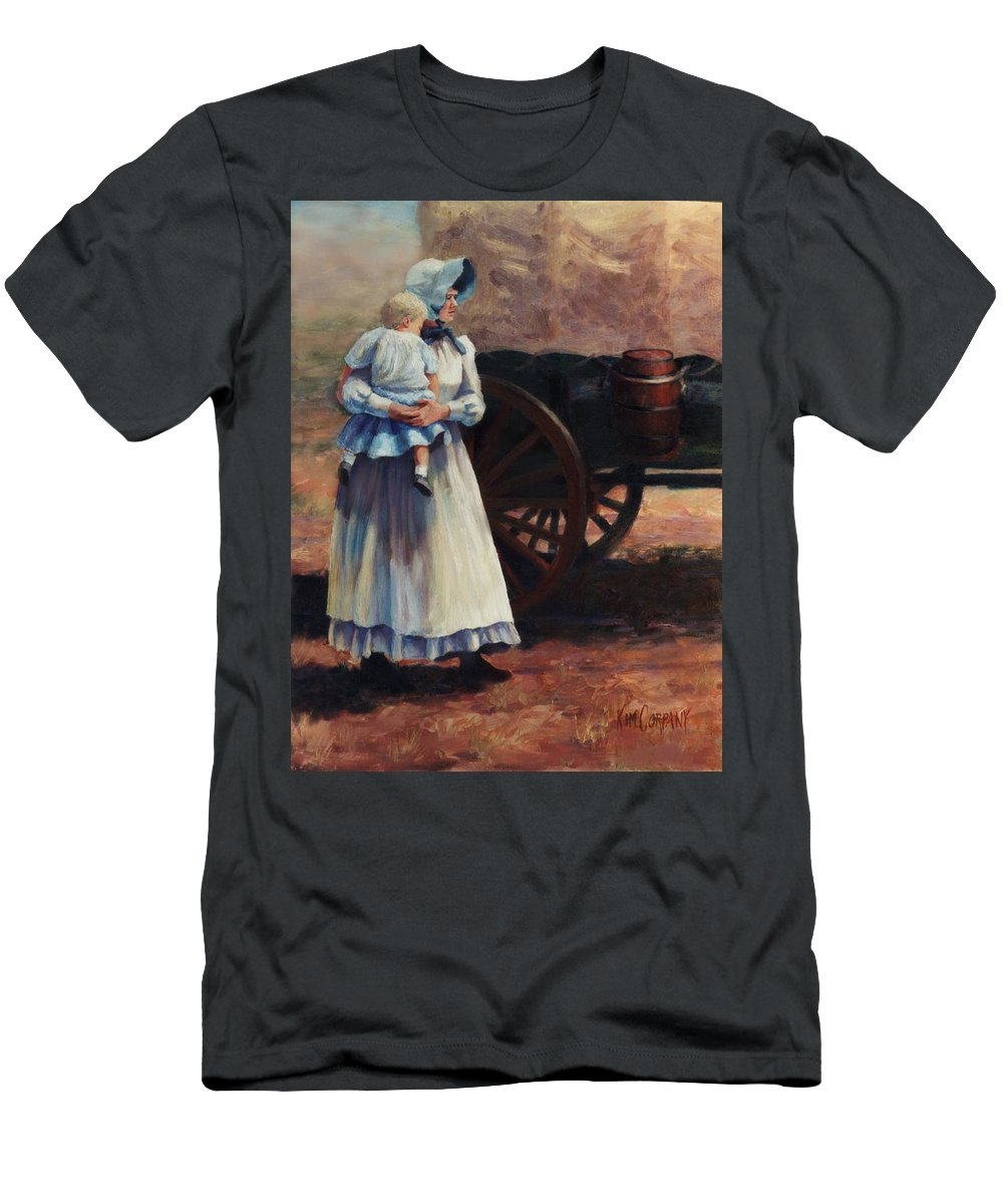 Pioneer Men's T-Shirt (Athletic Fit) featuring the painting The Long Walk  Pioneers Traveling Westward by Kim Corpany