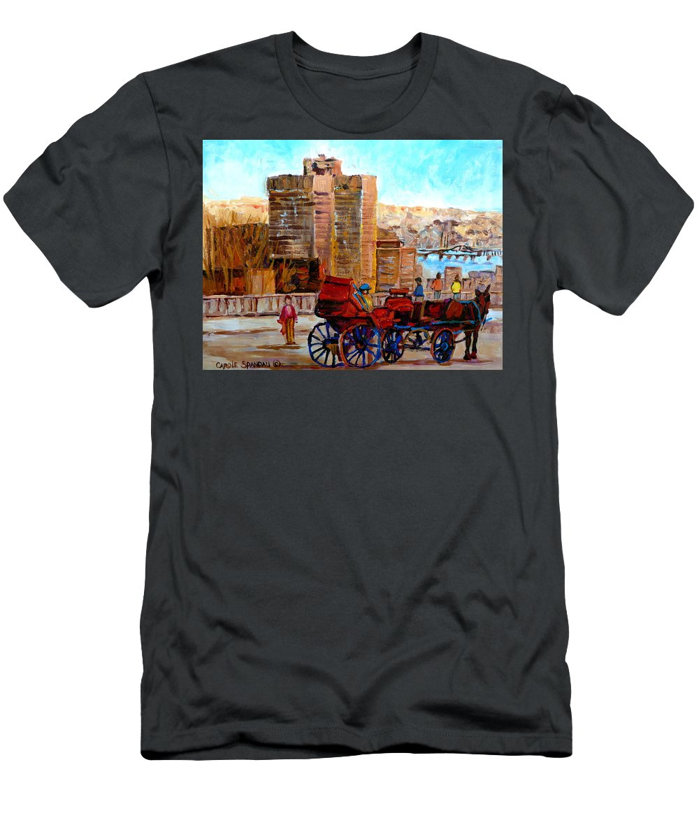 Montreal Street Scene Men's T-Shirt (Athletic Fit) featuring the painting The Lookout On Mount Royal Montreal by Carole Spandau