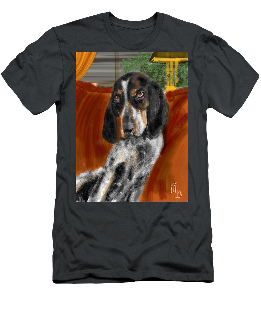 Animals Men's T-Shirt (Athletic Fit) featuring the painting The Lounger by Lois Ivancin Tavaf
