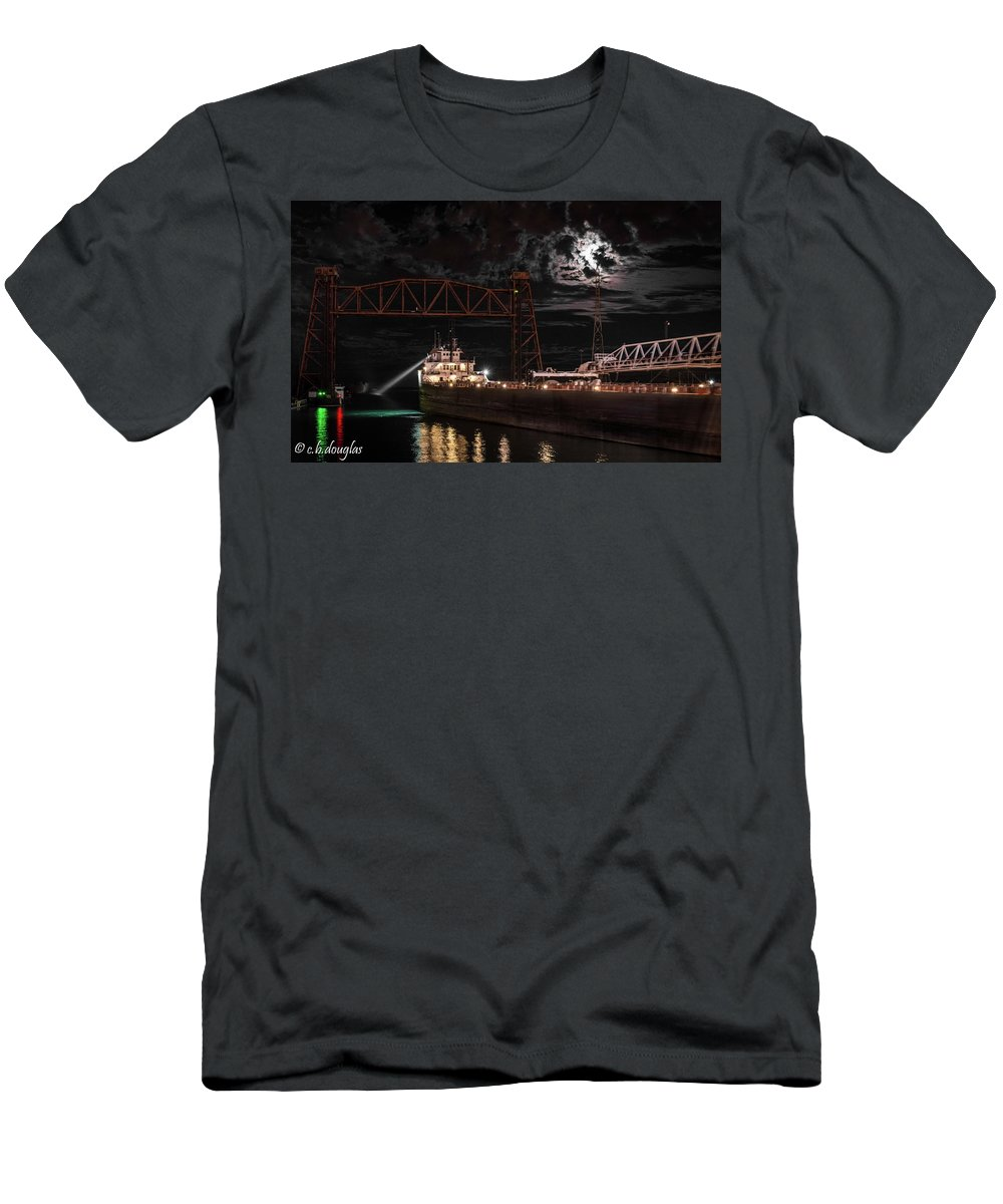 Men's T-Shirt (Athletic Fit) featuring the photograph The Michipicoten's Departure Under A Full Moon by Christine Douglas