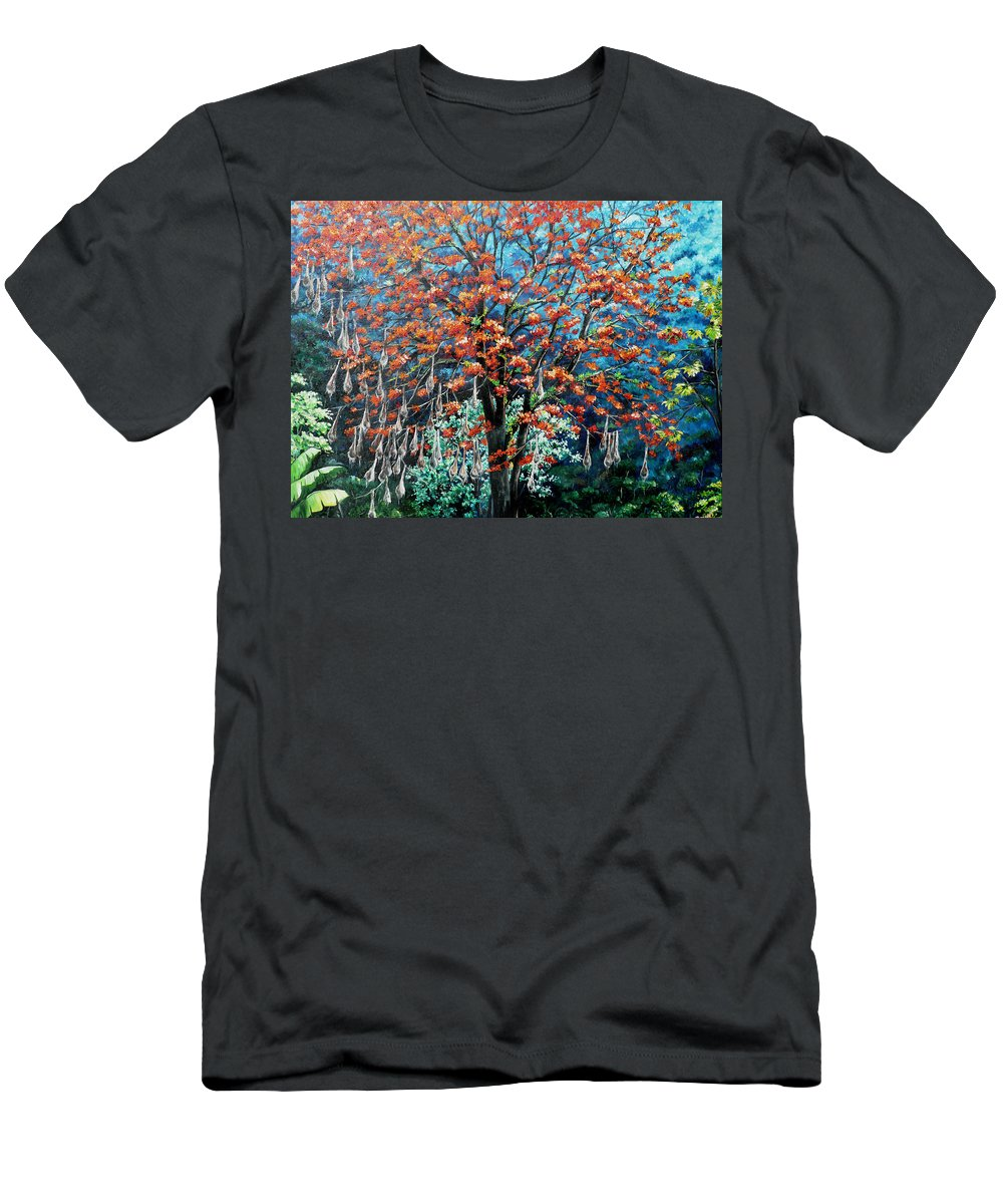 Tree Painting Mountain Painting Floral Painting Caribbean Painting Original Painting Of Immortelle Tree Painting  With Nesting Corn Oropendula Birds Painting In Northern Mountains Of Trinidad And Tobago Painting Men's T-Shirt (Athletic Fit) featuring the painting The Mighty Immortelle by Karin Dawn Kelshall- Best