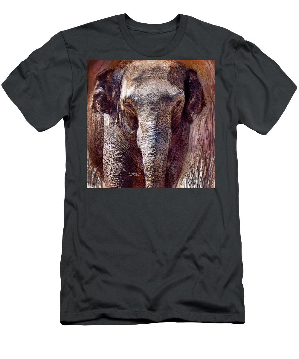 Elephant Men's T-Shirt (Athletic Fit) featuring the mixed media The Mighty One by Carol Cavalaris