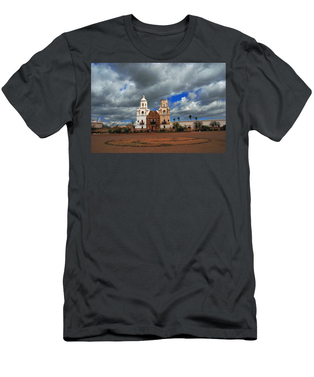 Photography Men's T-Shirt (Athletic Fit) featuring the photograph The Mission In Tuscon Arizona by Susanne Van Hulst