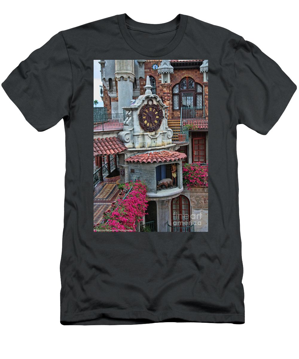 Mission Inn Men's T-Shirt (Athletic Fit) featuring the photograph The Mission Inn Clock Tower by Tommy Anderson