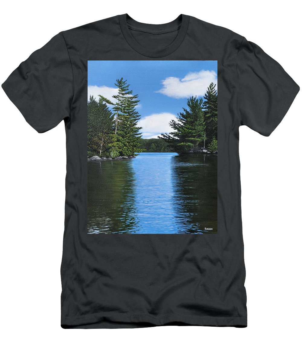 Landscapes Men's T-Shirt (Athletic Fit) featuring the painting The Narrows Of Muskoka by Kenneth M Kirsch