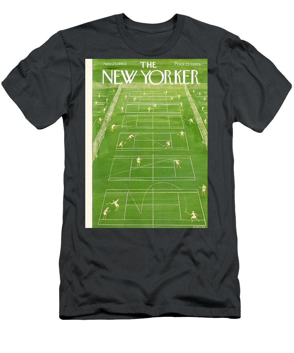 Tennis T-Shirt featuring the painting New Yorker Cover - June 25th, 1960 by Anatol Kovarsky