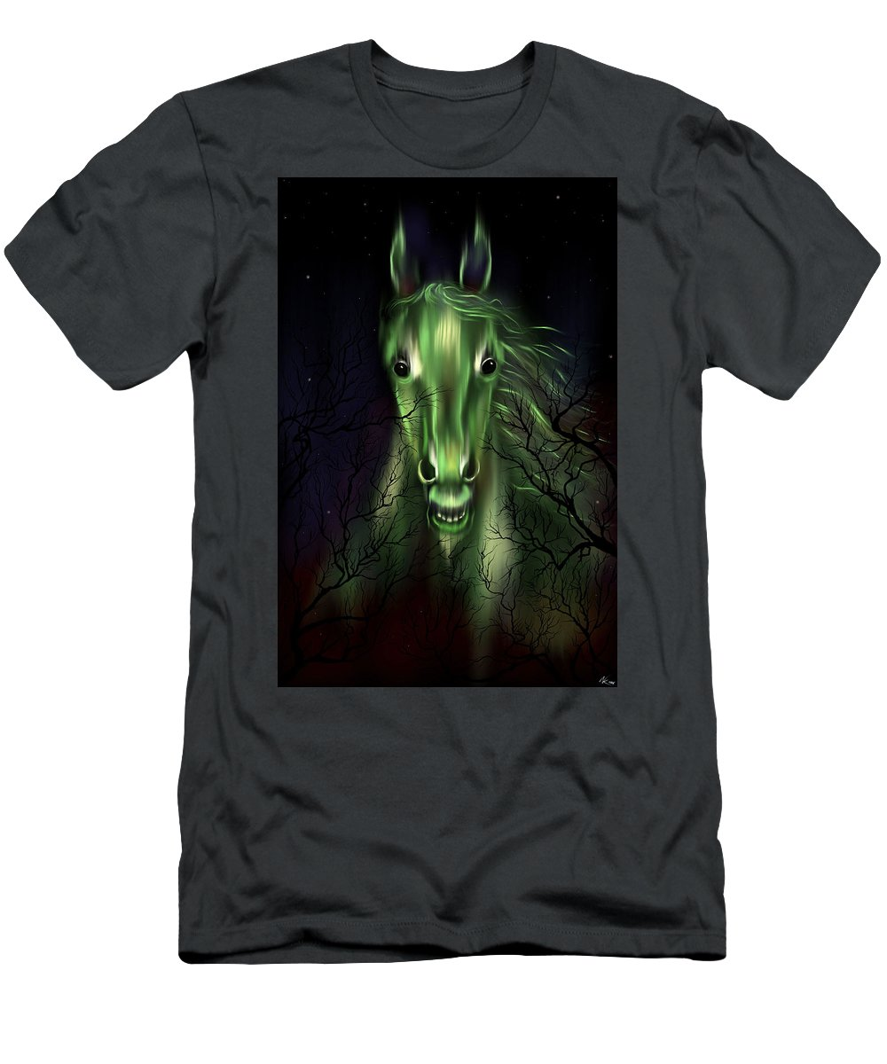 Horse Men's T-Shirt (Athletic Fit) featuring the digital art The Night Mare by Norman Klein