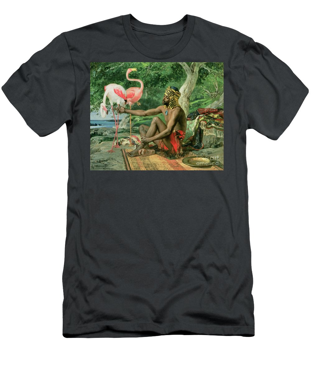 The Nubian Slave (oil On Canvas) By Georgio Marcelli (fl.1874) Men's T-Shirt (Athletic Fit) featuring the painting The Nubian by Georgio Marcelli