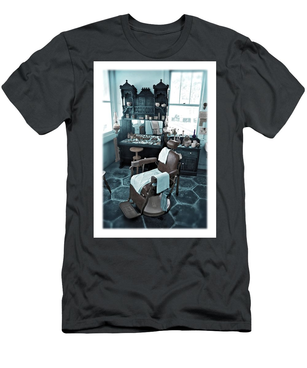 Barber Men's T-Shirt (Athletic Fit) featuring the photograph The Old American Barbershop by Mal Bray