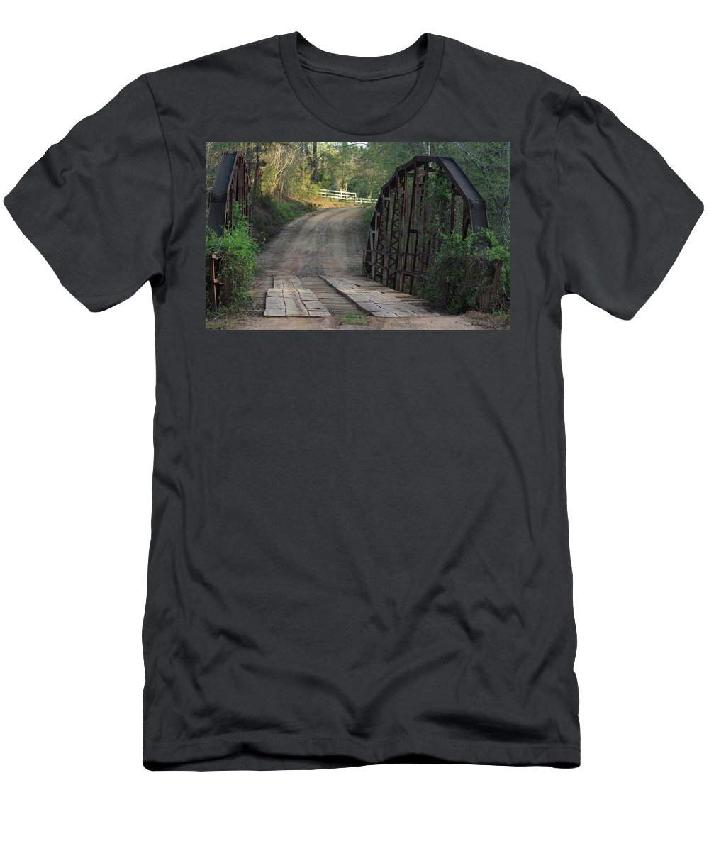 Bridge Men's T-Shirt (Athletic Fit) featuring the photograph The Old Country Bridge by Kim Henderson