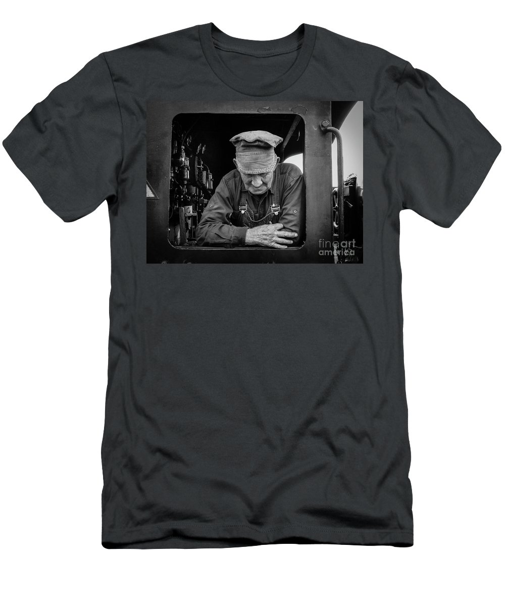 Belching Fire Men's T-Shirt (Athletic Fit) featuring the photograph The Old Engineer by Teresa A and Preston S Cole Photography