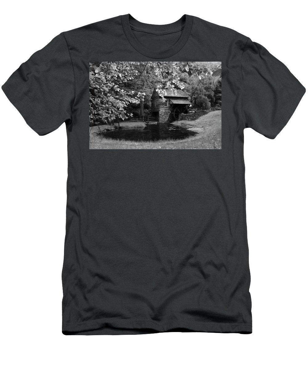 Gristmill Men's T-Shirt (Athletic Fit) featuring the photograph The Old Mmill by Eleanor Bortnick