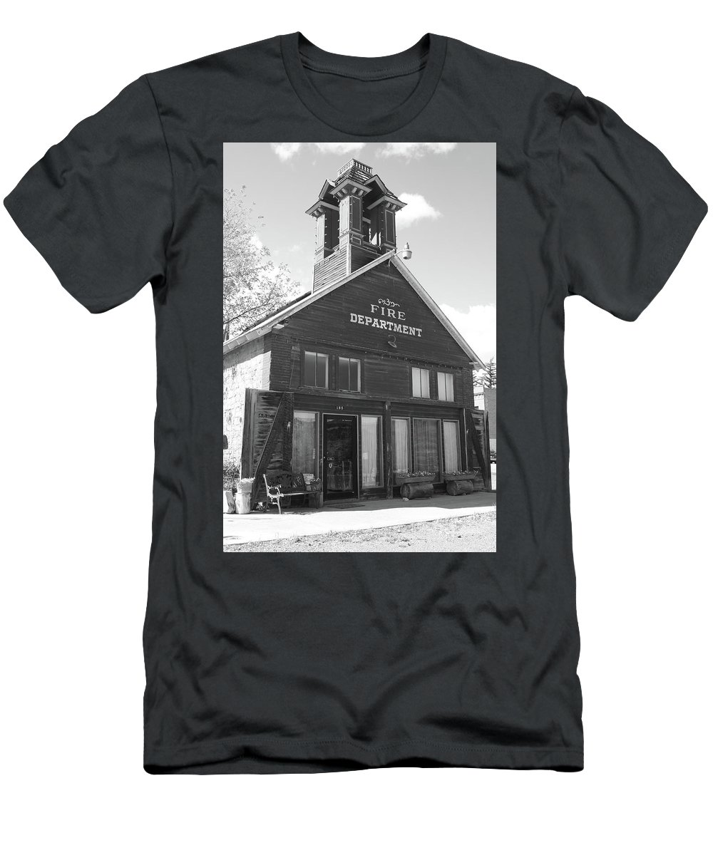American West Men's T-Shirt (Athletic Fit) featuring the photograph The Old Ridgway Firehouse by Eric Glaser
