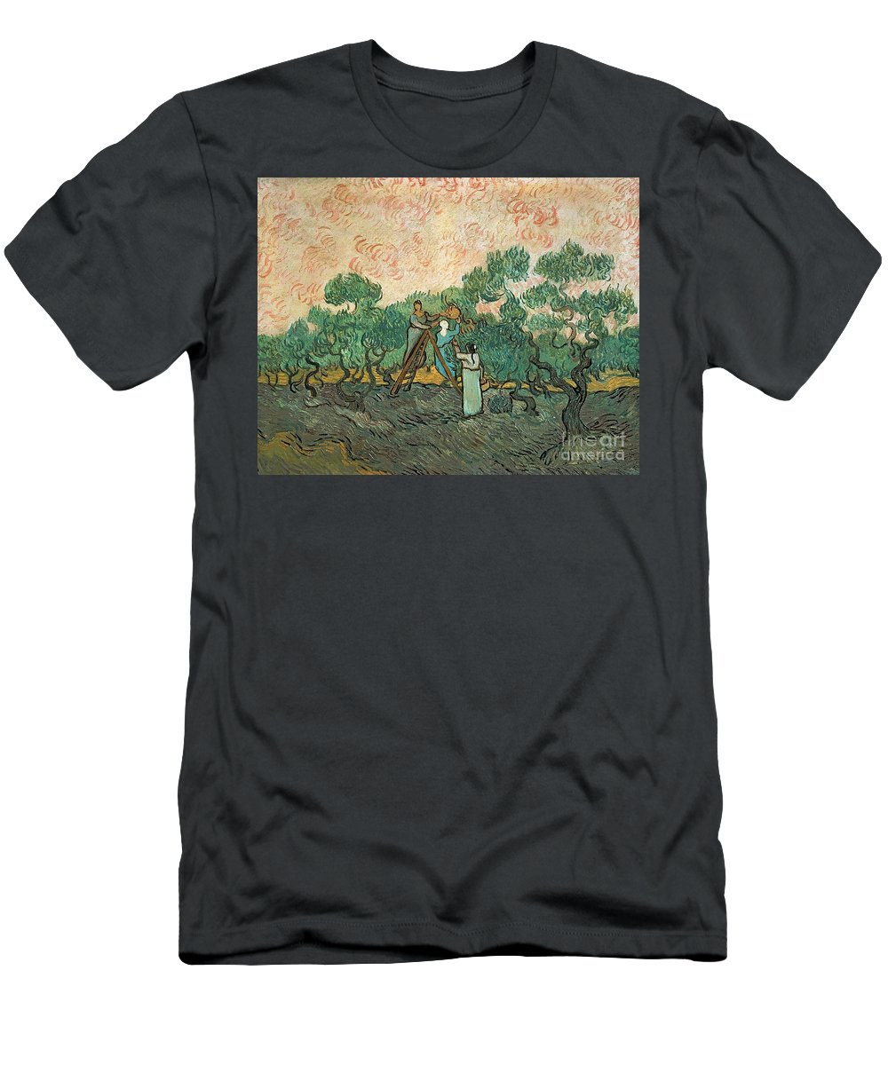 The Men's T-Shirt (Athletic Fit) featuring the painting The Olive Pickers by Vincent van Gogh