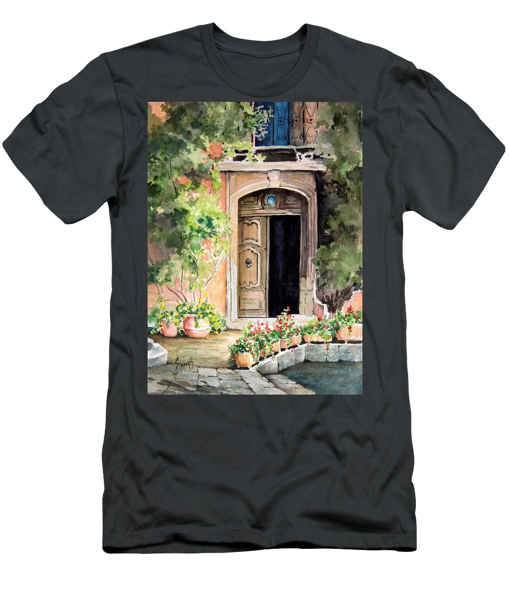 Door Men's T-Shirt (Athletic Fit) featuring the painting The Open Door by Sam Sidders