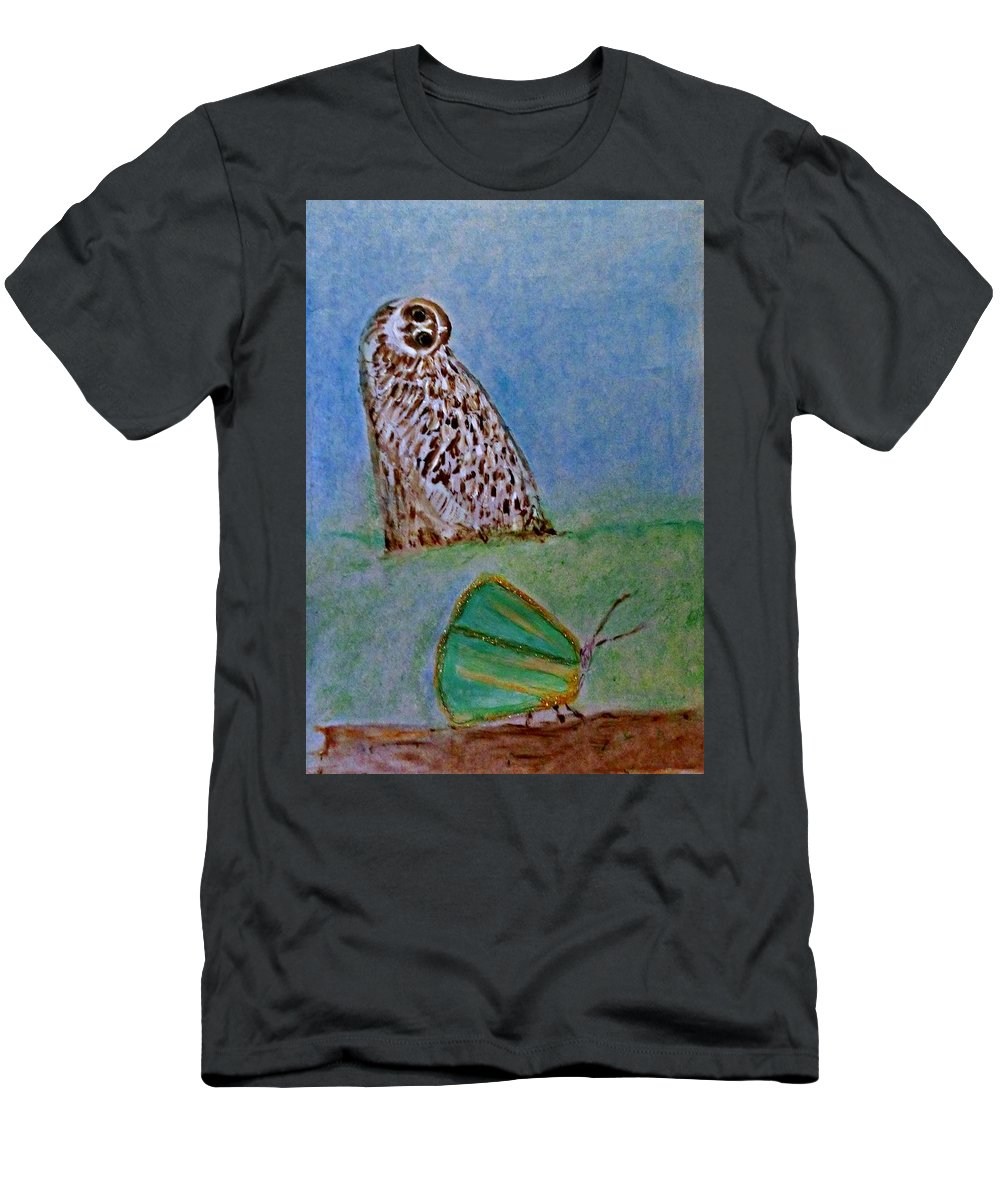 Art Deco Men's T-Shirt (Athletic Fit) featuring the painting The Owl And The Butterfly by Michela Akers