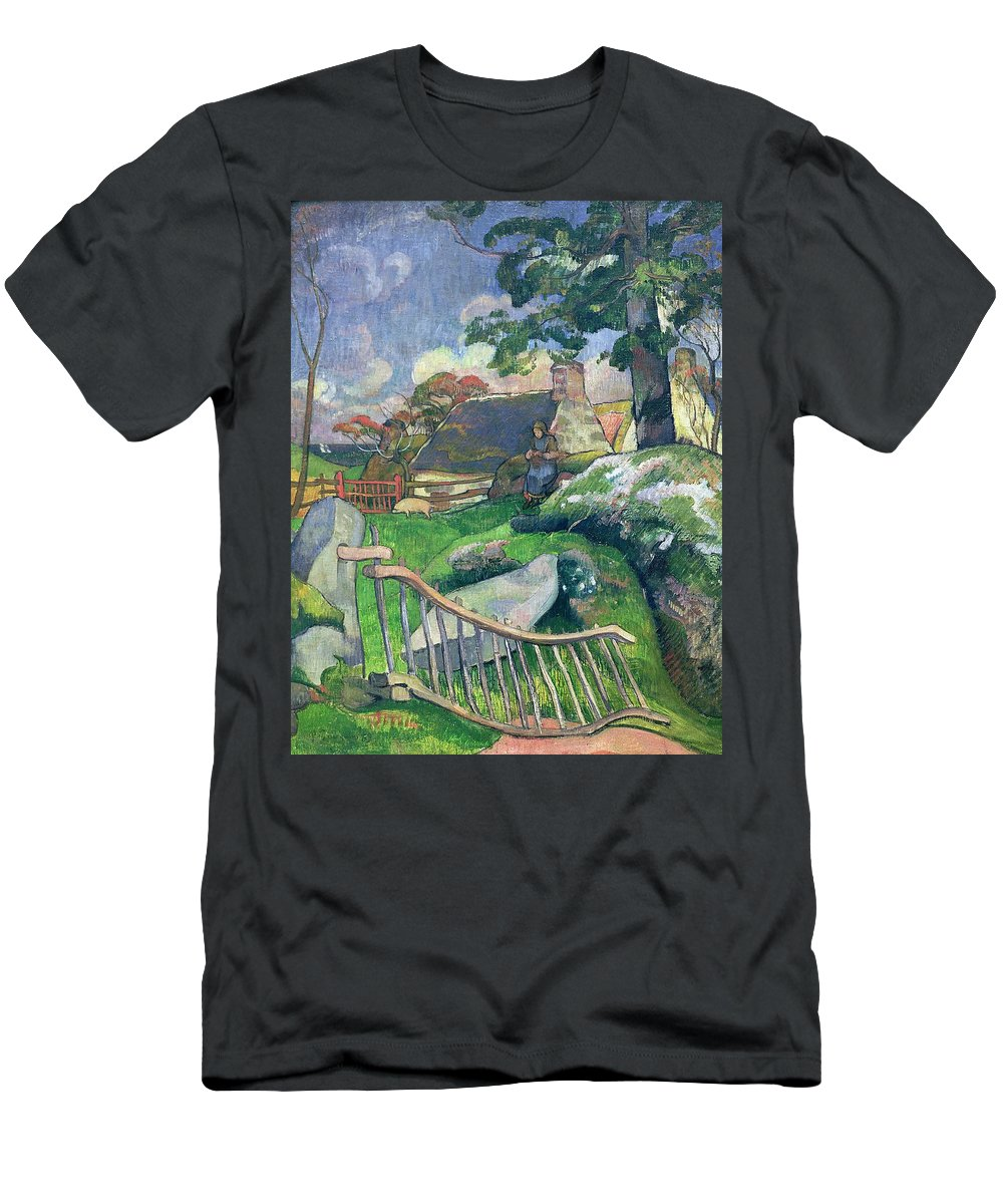 The Wooden Gate Or Men's T-Shirt (Athletic Fit) featuring the painting The Pig Keeper by Paul Gauguin