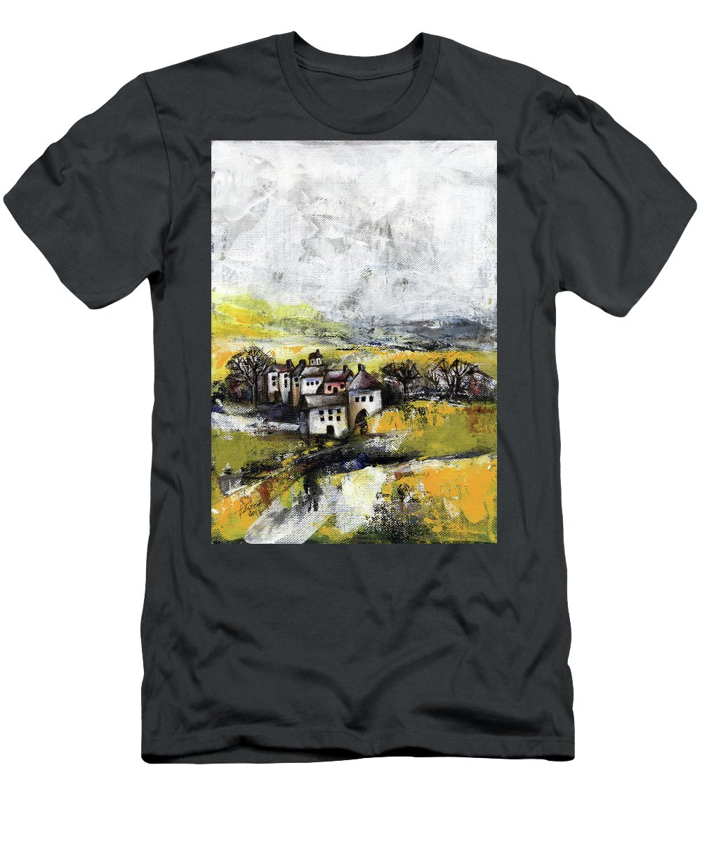 Landscape T-Shirt featuring the painting The pink house by Aniko Hencz