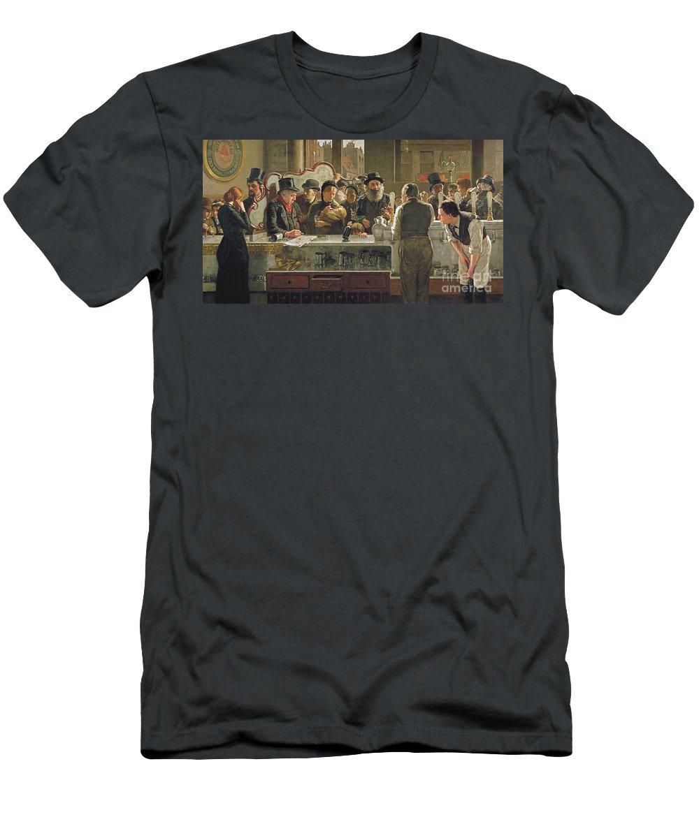 Drinking;drink;social;pub;landlord;barman;barmen T-Shirt featuring the painting The Public Bar by John Henry Henshall