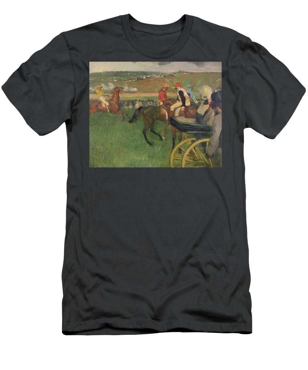 The Race Course - Amateur Jockeys Near A Carriage Men's T-Shirt (Athletic Fit) featuring the painting The Race Course by Edgar Degas