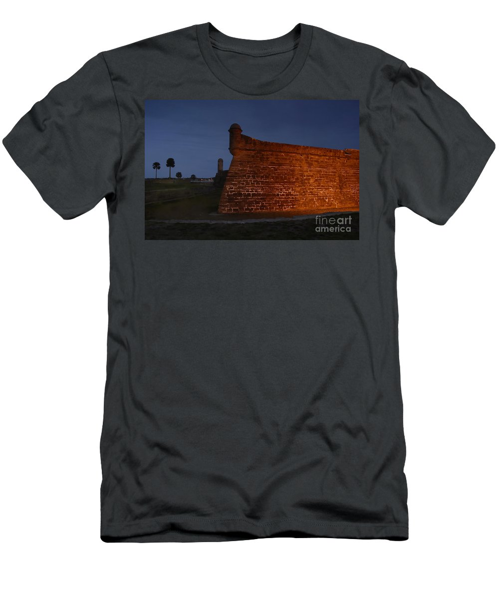 Castillo Men's T-Shirt (Athletic Fit) featuring the photograph The Red Castillo by David Lee Thompson