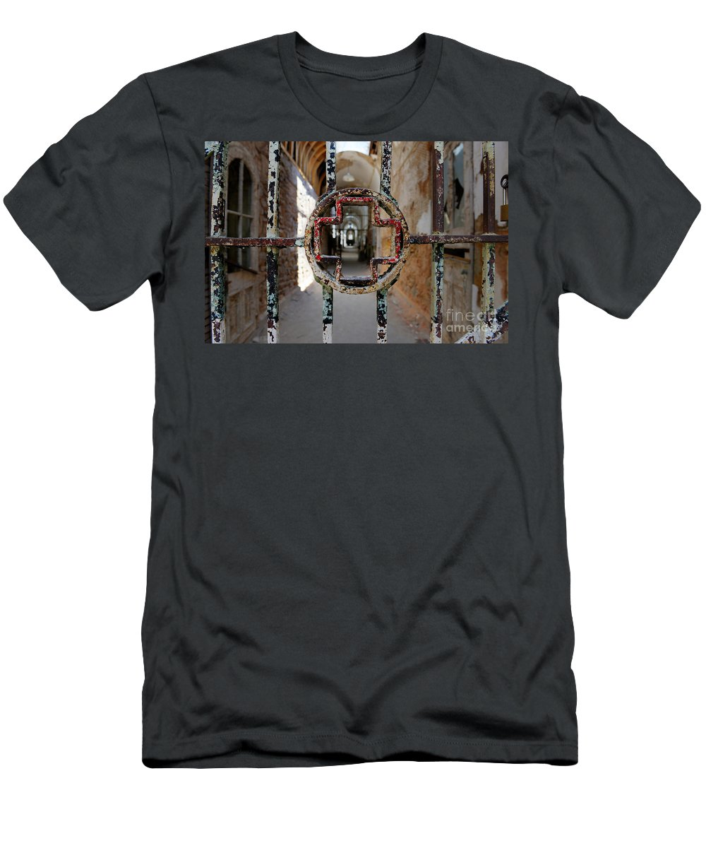 Prison Hospital Men's T-Shirt (Athletic Fit) featuring the photograph The Red Cross by Paul Ward