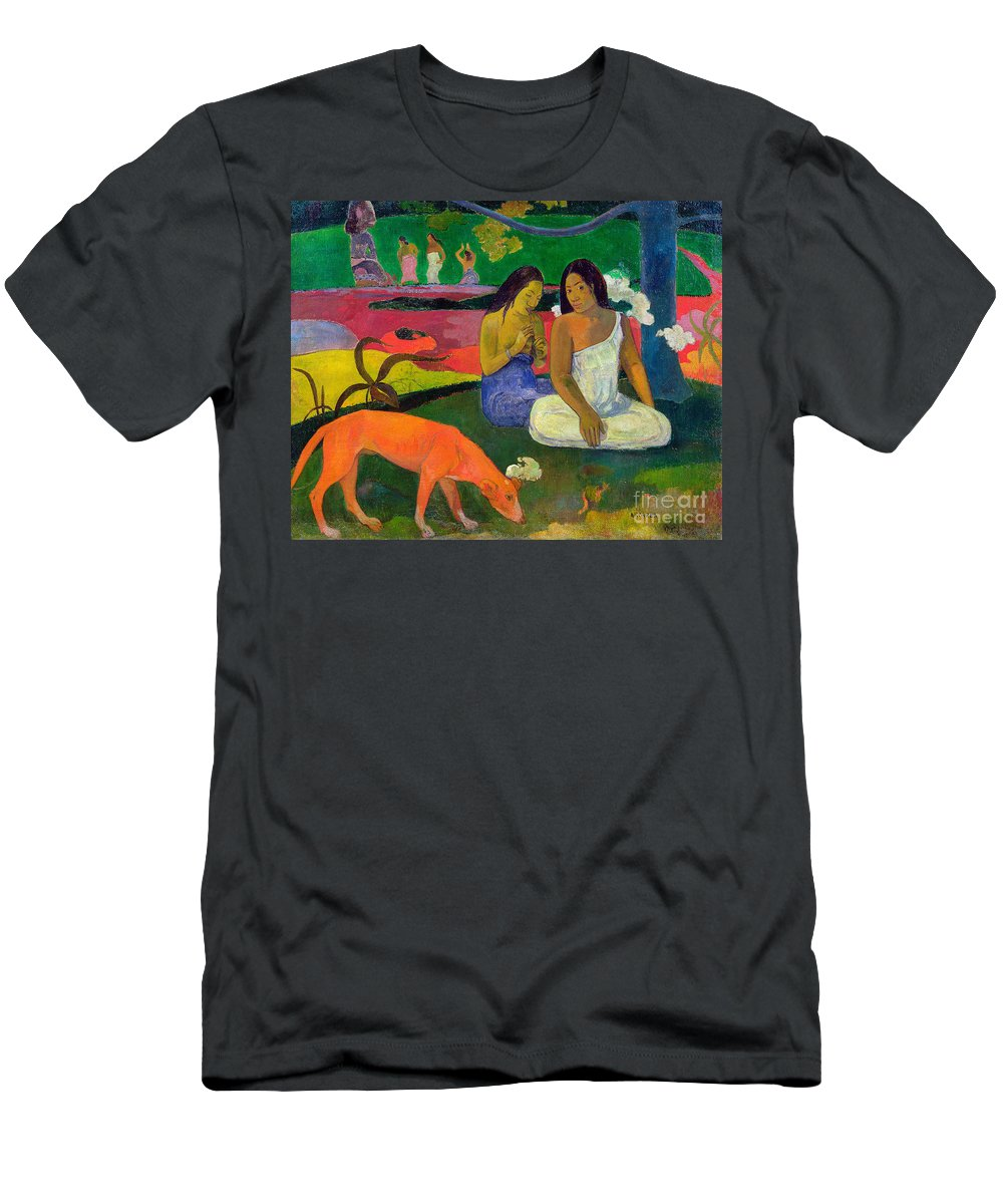 Arearea (the Red Dog) Men's T-Shirt (Athletic Fit) featuring the painting The Red Dog by Paul Gauguin