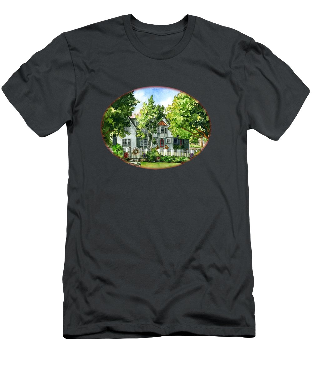 House Men's T-Shirt (Athletic Fit) featuring the painting The Red Door by Shelley Wallace Ylst