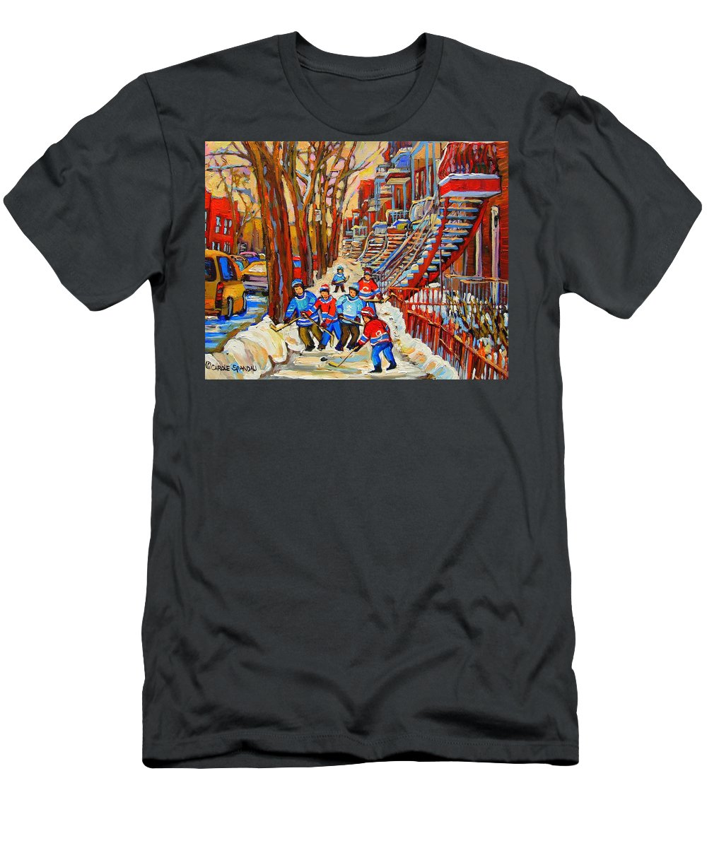 T-Shirt featuring the painting The Red Staircase Painting By Montreal Streetscene Artist Carole Spandau by Carole Spandau