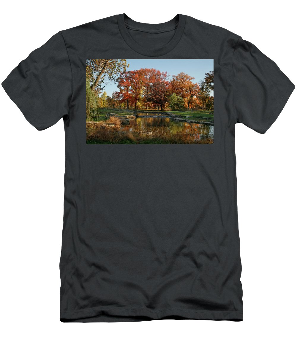 Forest Park Men's T-Shirt (Athletic Fit) featuring the photograph The Rich Autumn Colors In Forest Park. by Garry McMichael