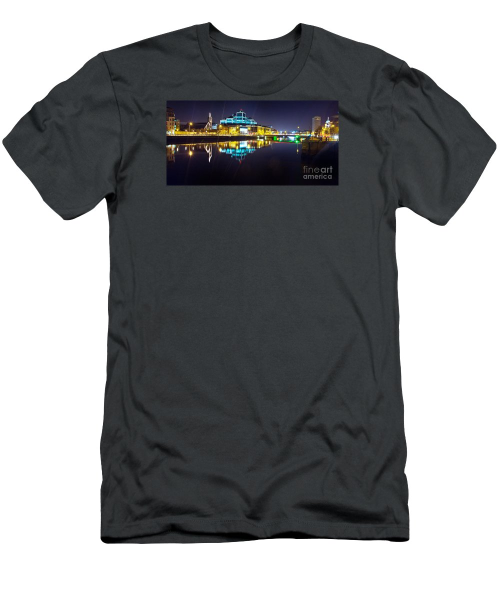 Night Romance Men's T-Shirt (Athletic Fit) featuring the photograph The River Liffey Night Romance 2 by Alex Art and Photo