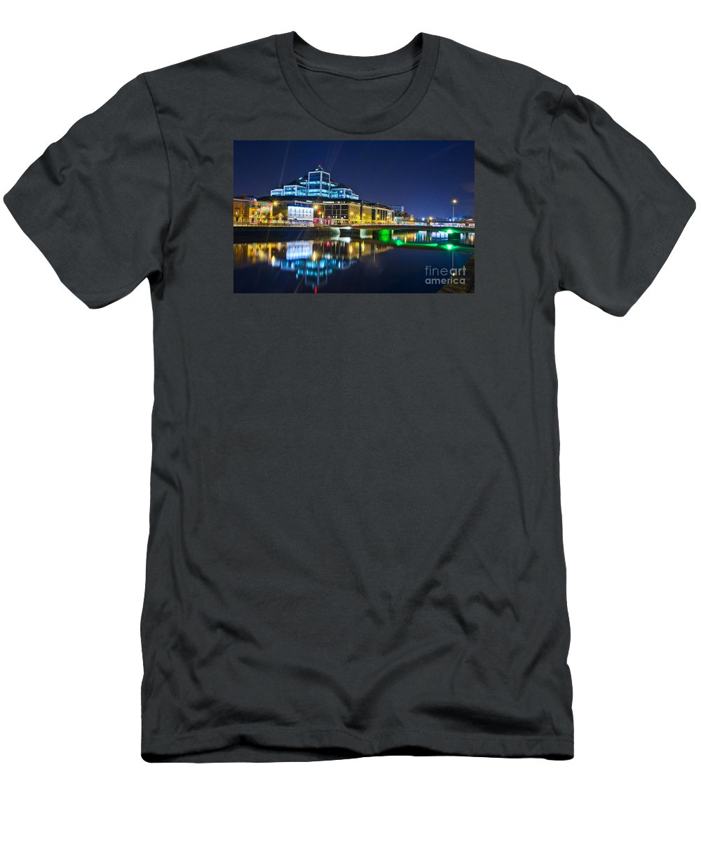 River Liffey Reflections Men's T-Shirt (Athletic Fit) featuring the photograph The River Liffey Reflections 4 by Alex Art and Photo