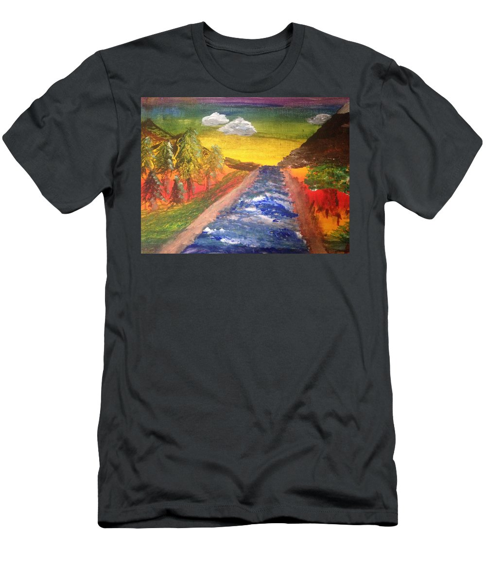 Landscape Men's T-Shirt (Athletic Fit) featuring the painting The River Of Life by Jeannette Santana