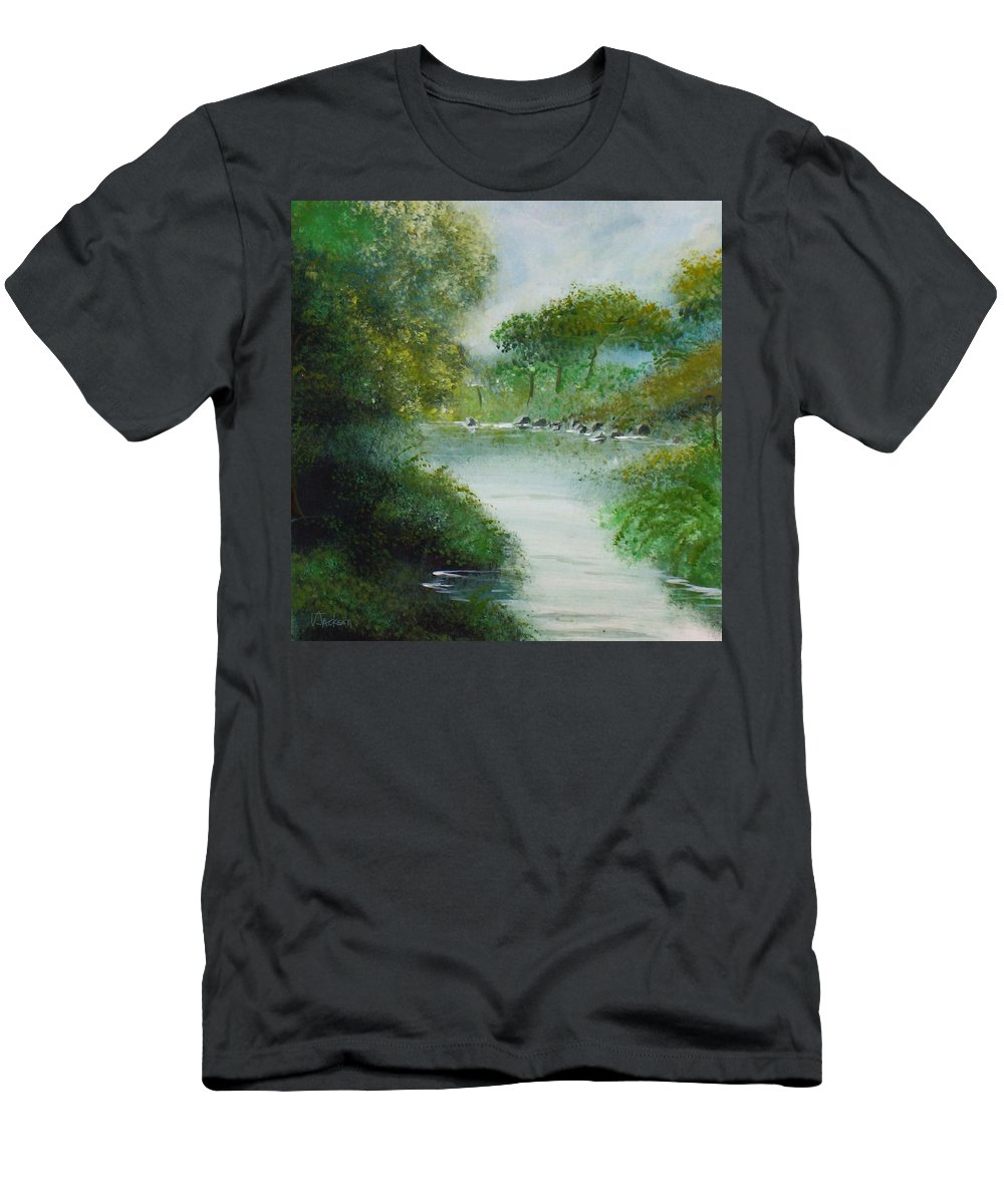 River Water Trees Clouds Leaves Nature Green T-Shirt featuring the painting The River by Veronica Jackson