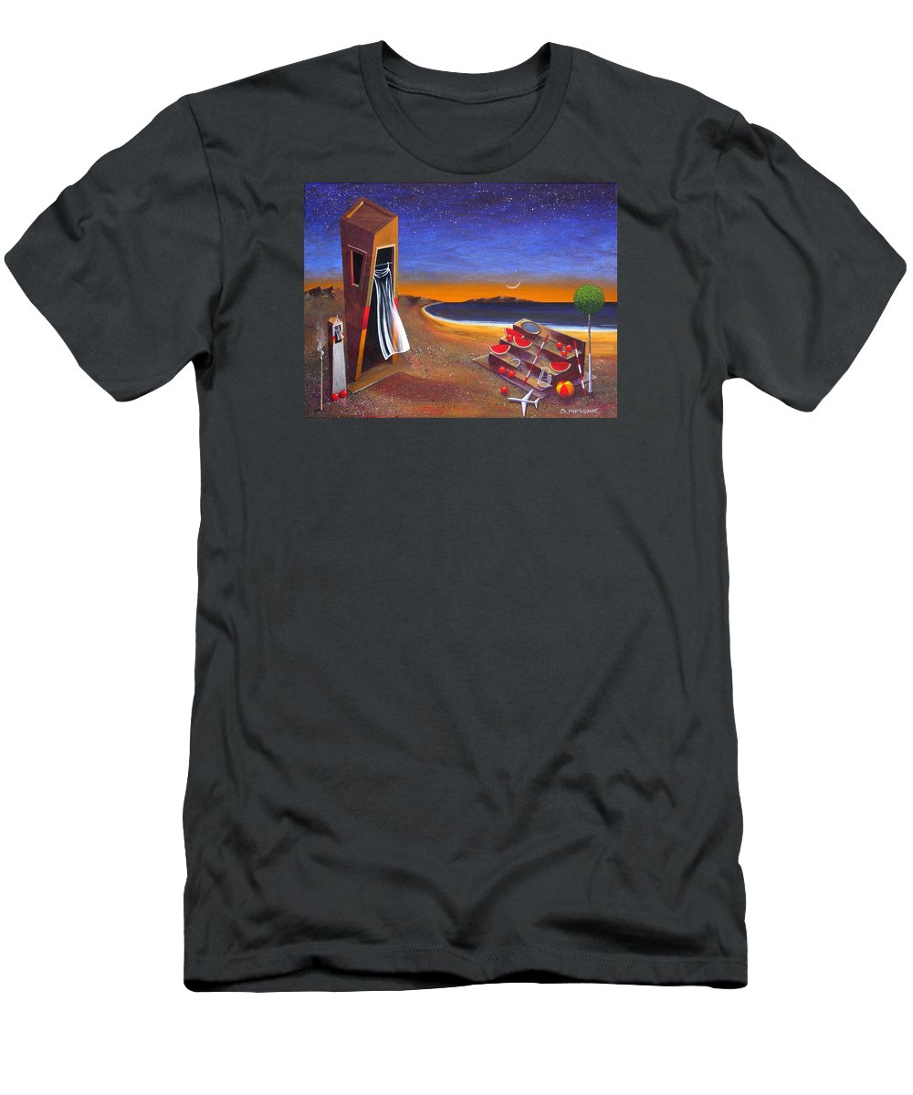 Landscape Men's T-Shirt (Athletic Fit) featuring the painting The School Of Metaphysical Thought by Dimitris Milionis