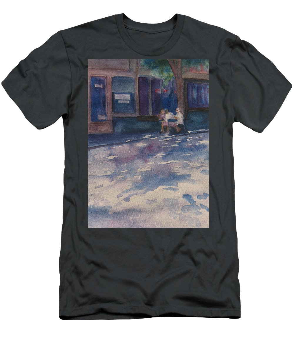 Shadow Men's T-Shirt (Athletic Fit) featuring the painting The Shady Side Of The Street by Jenny Armitage