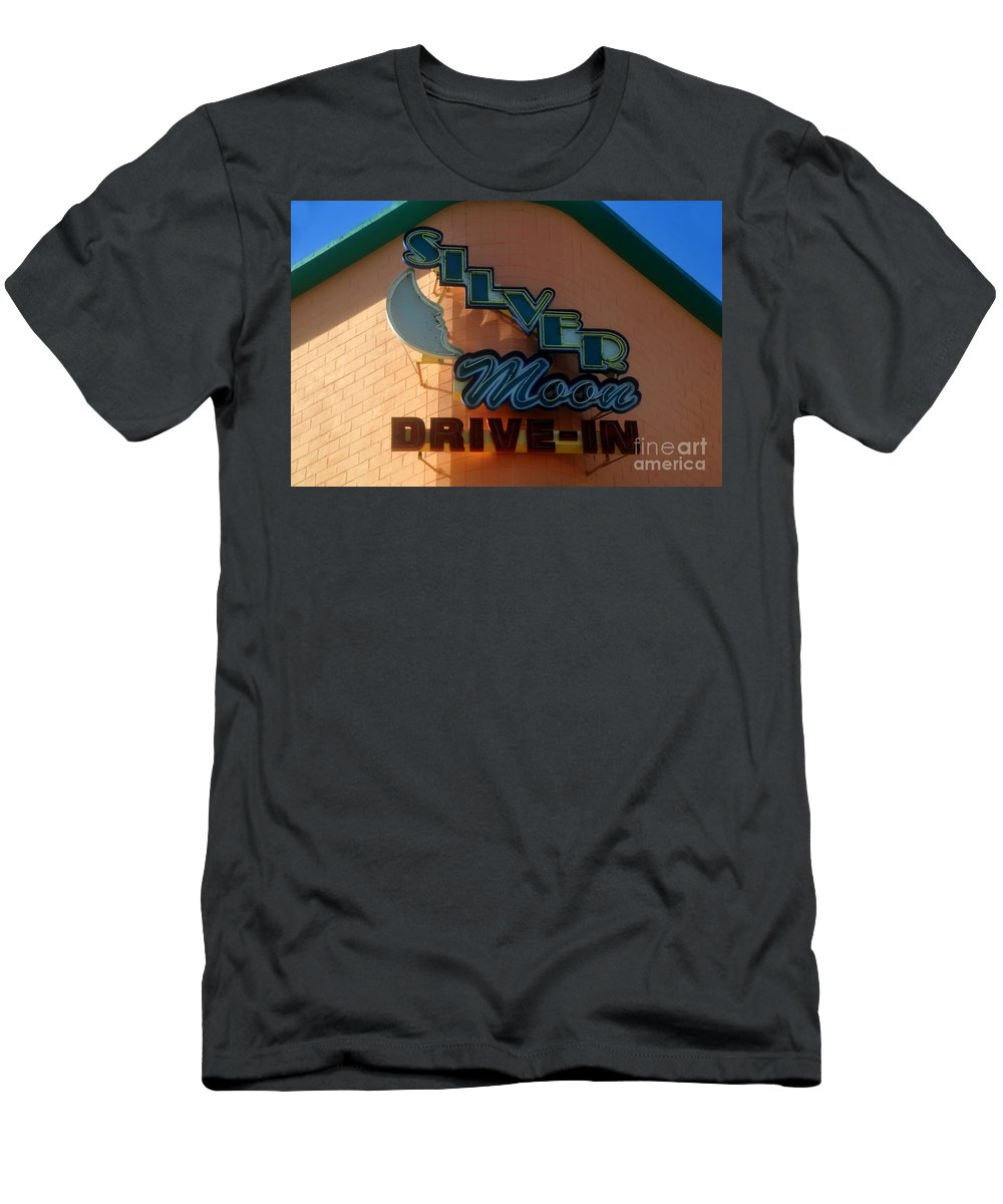 Silver Moon Drive In Men's T-Shirt (Athletic Fit) featuring the photograph The Silver Moon by David Lee Thompson
