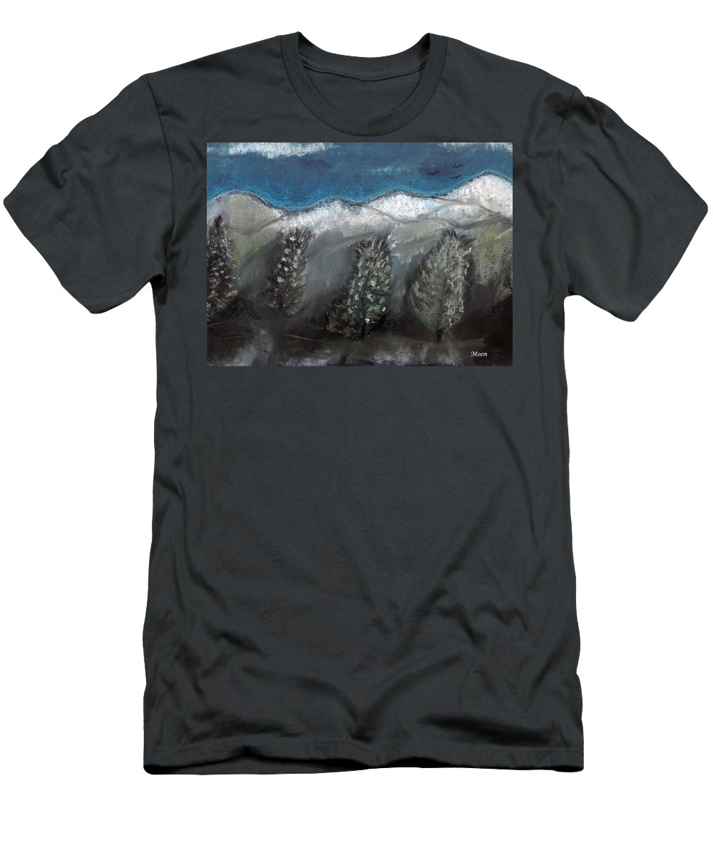 Trees Men's T-Shirt (Athletic Fit) featuring the pastel The Snow by Melvin Moon