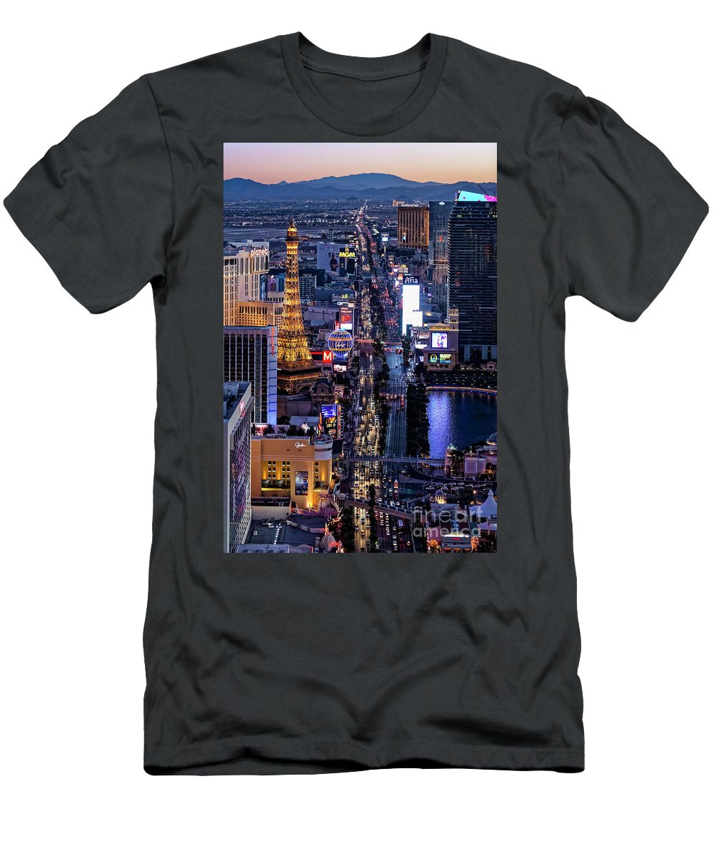 Las Vegas Men's T-Shirt (Athletic Fit) featuring the photograph the Strip at night, Las Vegas by Sv
