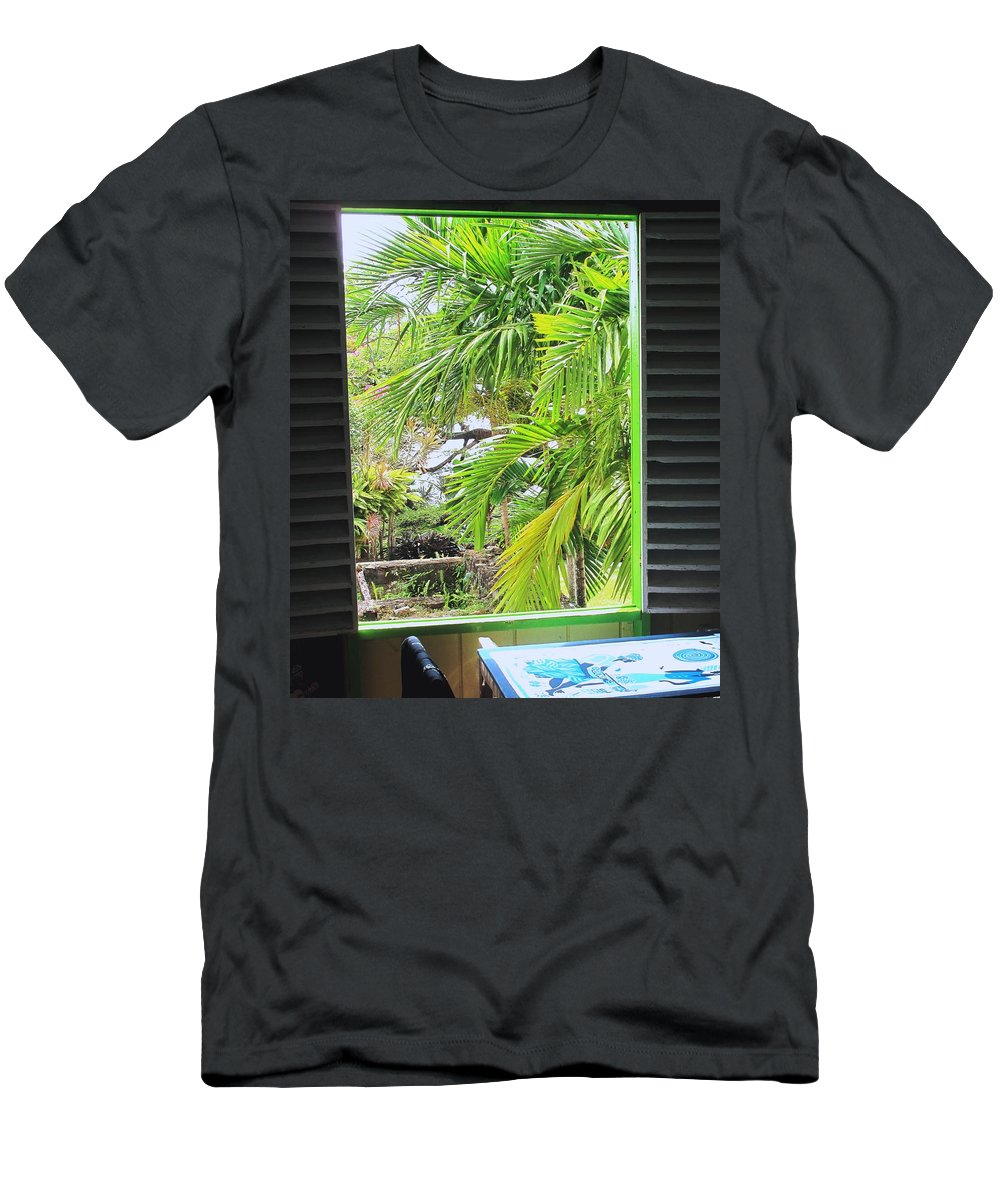 Window Men's T-Shirt (Athletic Fit) featuring the photograph The Studio Window by Ian MacDonald