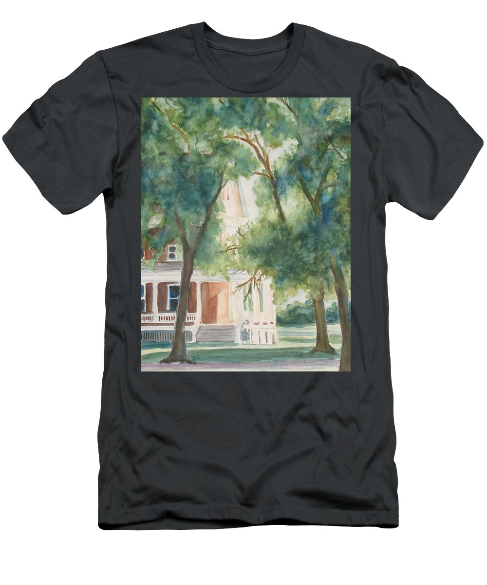 House Men's T-Shirt (Athletic Fit) featuring the painting The Sunlit Porch by Jenny Armitage